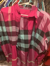 pink and white striped long-sleeved shirt