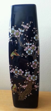 Tall Square Ceramic Japanese Vase