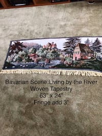 """Woven Tapestry, Bavarian Scene """" Living by the River."""" Just pulled out of box. New Newark, 19702"""