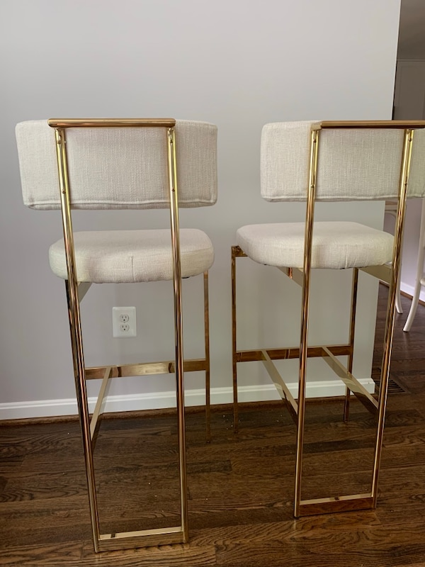 Two bar chairs cream linen and brushed gold frame 34b35cf5-0474-477c-b781-cd4a3d2647b8
