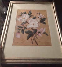 White and pink magnolia flowers painting