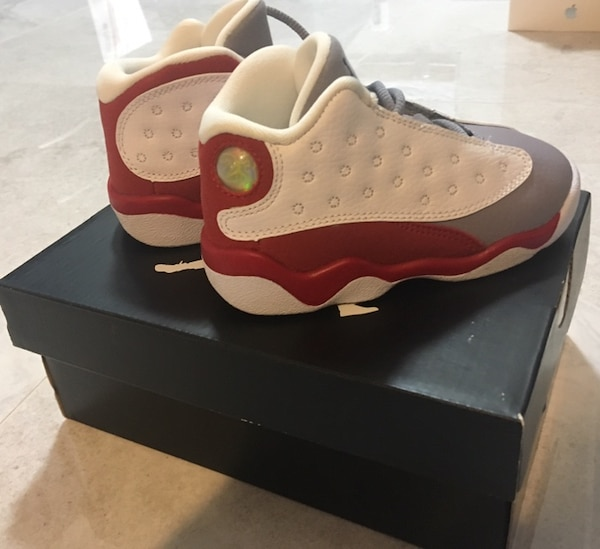 2a64f24be Used JORDAN 13 RETRO BT-toddler size 7c white red grey blk ...
