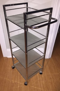 Old Chrome Cart with Wheels and Frosted Glass Shelves Toronto