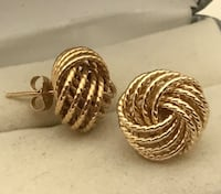 UNIQUE Lady's 14K Solid Yellow Gold Stud Earrings Greer, 29650
