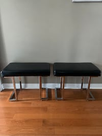 2 Faux black leather Bench $60 each Mississauga, L5N