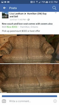 two Cushion 2-seating couch and brown cushion 3-se