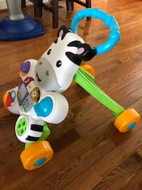 white and blue Fisher-Price zebra learning walker Sterling, 20164