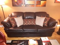 2 PIECE BLACK LEATHER COUCH SET-seat sofa