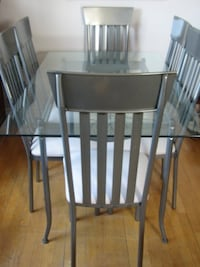 Contemporary glass and metal dining set  NEWMARKET
