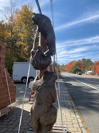 Chainsaw carved multi bear post-One of a kind! Foster, 02825