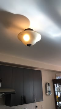 Beige and dark brown dome light