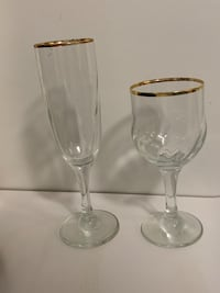 Wine and champagne glasses with gold trim. Set of 12 for each.  Toronto, M2N