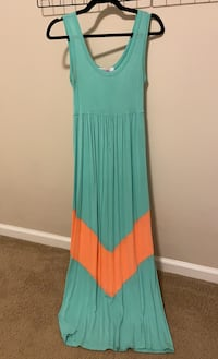 Maxi Dress (Mint and Coral, Sleeveless)