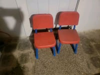 two red and blue plastic armchairs Baltimore, 21214