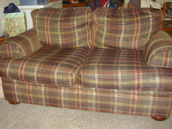 brown and grey plaid padded loveseat Abbotsford, BC, Canada