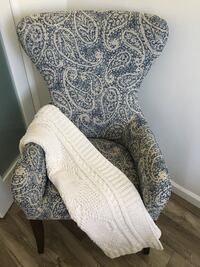 Blue and white paisley print wingback armchair crate and barrel Vancouver, V6B 0M2