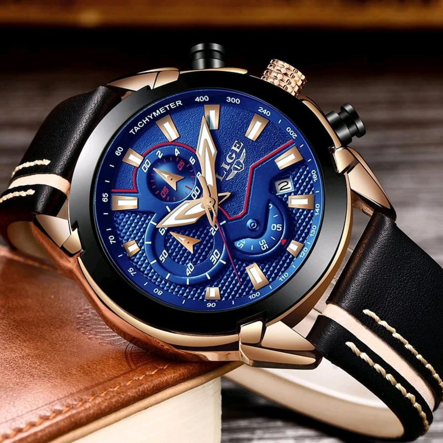 NEW LIGE Analog Luxury Gold Waterproof Bussiness Watch