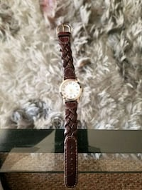 round white analog watch with brown rope leather strap Kelowna, V1X 2C4