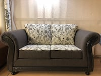GREY TWO TONE- BRAND NEW LOVE SEAT WITH WOODEN TRIM Toronto