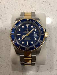 Automatic two-tone Men's Watch - Navy face with silver and gold band