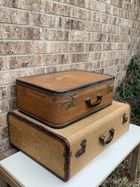 2 Antique Houndstooth Fabric and Leather Suitcases Vintage Luggage Decor Spring, 77379