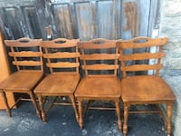four brown wooden armless chairs Dudley, 01571