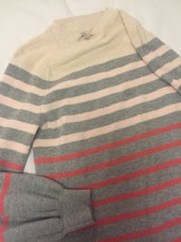 white, red, and gray striped crew-neck sweater