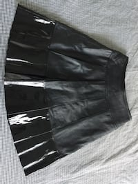 Black patent-leather mini skirt
