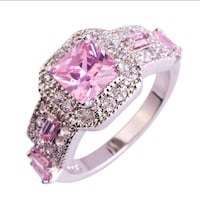 Pink Gemstone Emerald Cut Silver Ring Mableton, 30126