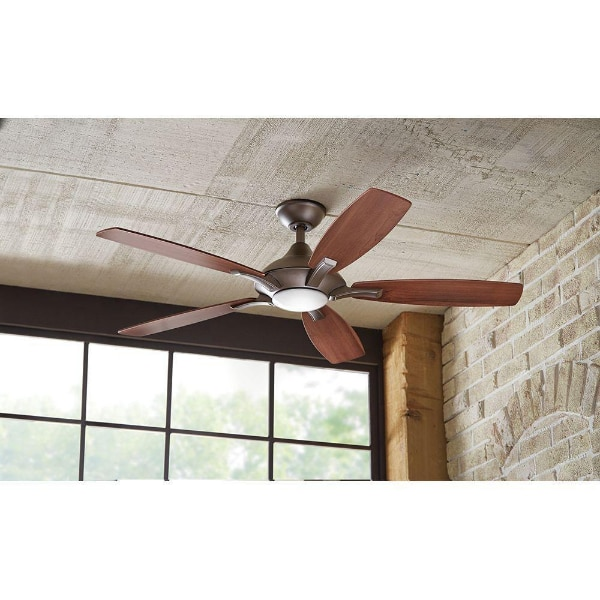 Home Decorators Collection Petersford 52 In Led Indoor Brushed Nickel Ceiling Fan With Light Kit And Remote Control