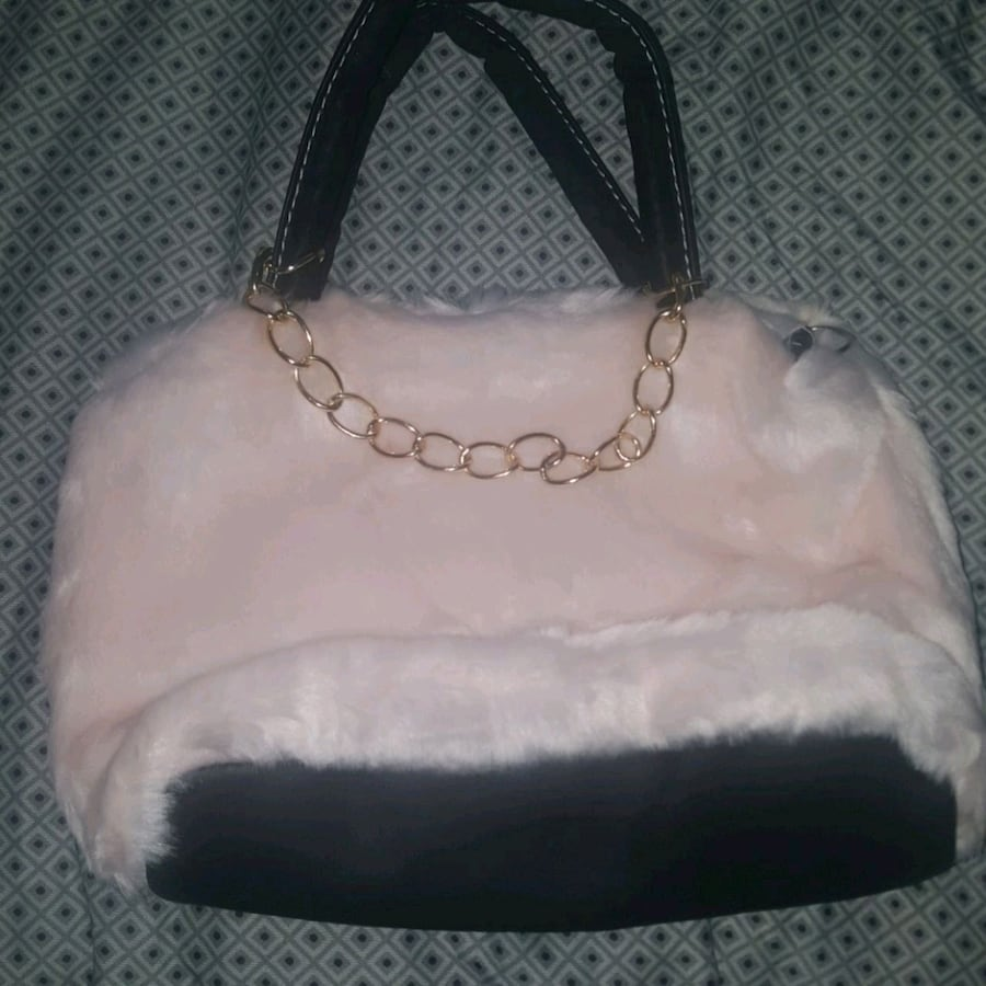 Pink faux fur handbag
