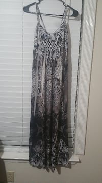 women's black and white spaghetti strap maxi dress HUMBLE