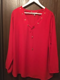 Plus Size Red Blouse with Gold Accent Edmonton, T6E 1P3