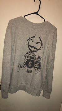 Gray and black crew-neck sweater