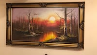 Brown wooden framed painting of trees Markham, L3S 4P6