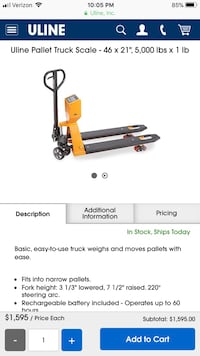 Uline pallet jack with scale  Lathrop, 95330