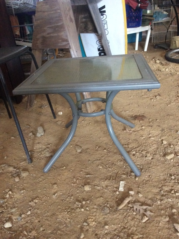 Small glass patio table
