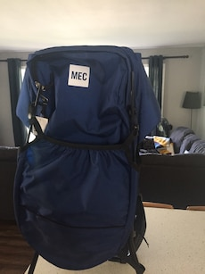 blue and white MEC bag