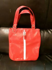 red and white leather tote bag 3729 km