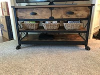 Brown wooden tv stand- baskets included Frisco, 75034