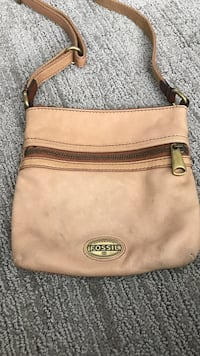 brown Fossil leather crossbody bag
