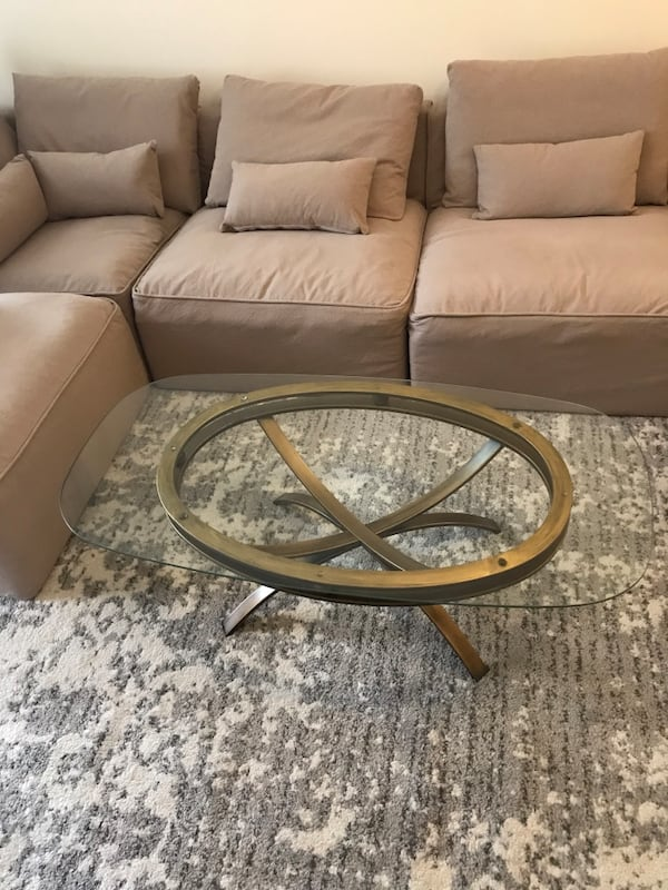 Contemporary brass base glass coffeetable 0