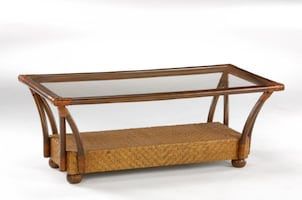 Rattan Coffee and End Tables With Glass Tops