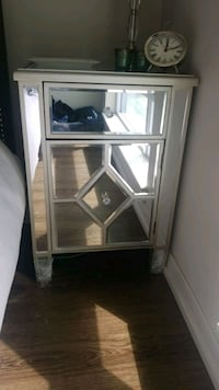 Glass mirror side table brand new