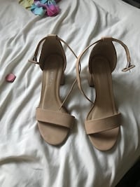 pair of brown leather open-toe heeled sandals Fullerton