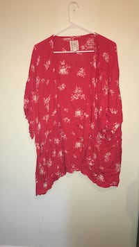 red and white floral cardigan