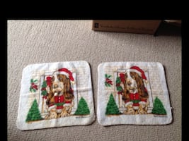 2 New Christmas Basset hound Facecloths