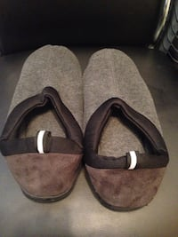 pair of gray-brown-and-black suede bedroom slippers Toronto, M6A 1N1