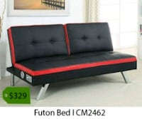 black and red tufted bed frame La Mirada, 90638