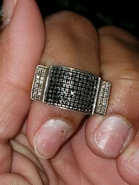Silver men's ring with real diamonds (black)  Kern County